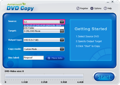 Select Protected DVD supported source